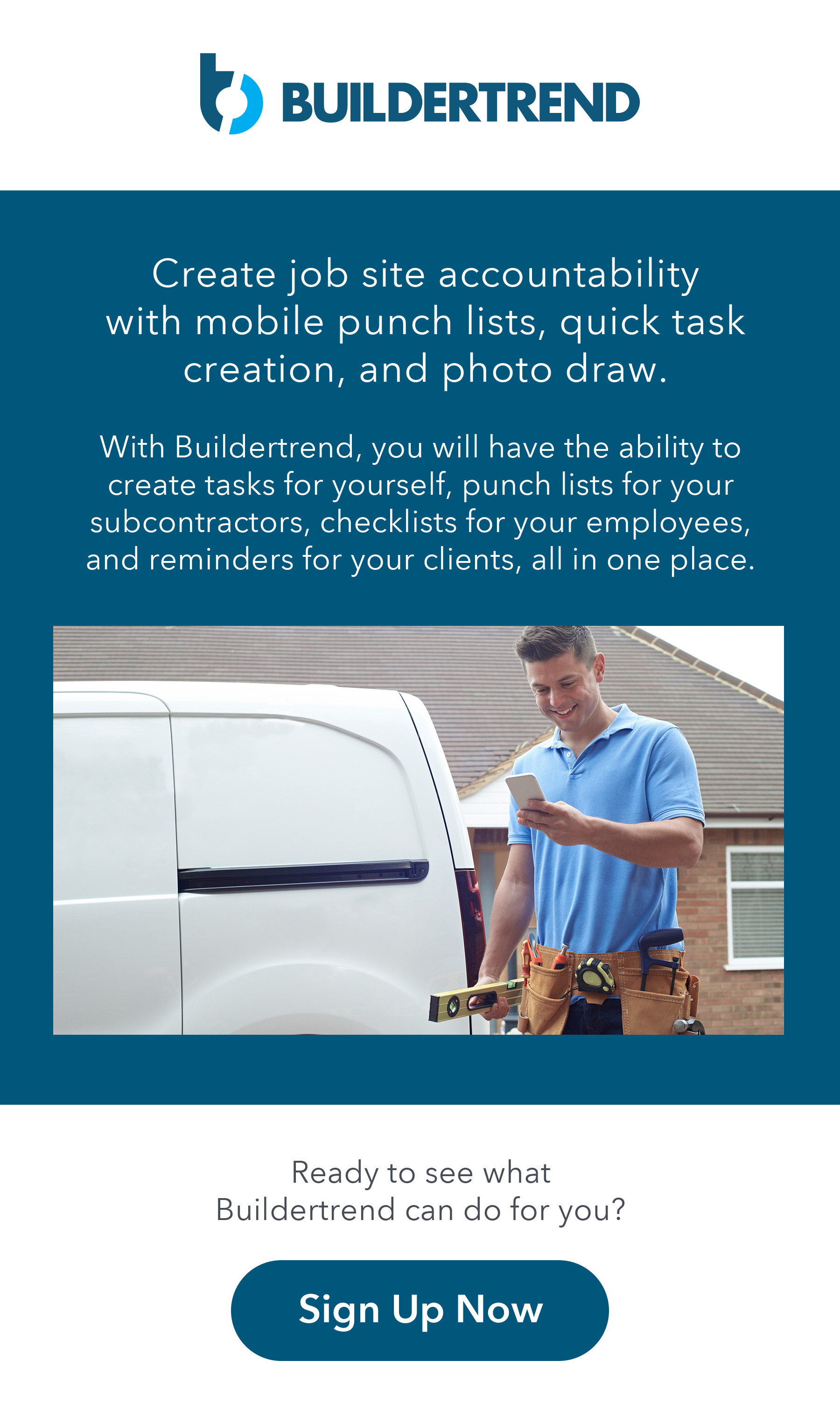 create job site accountability with mobile punch lists, quick task creation, and photo draw - sign up now