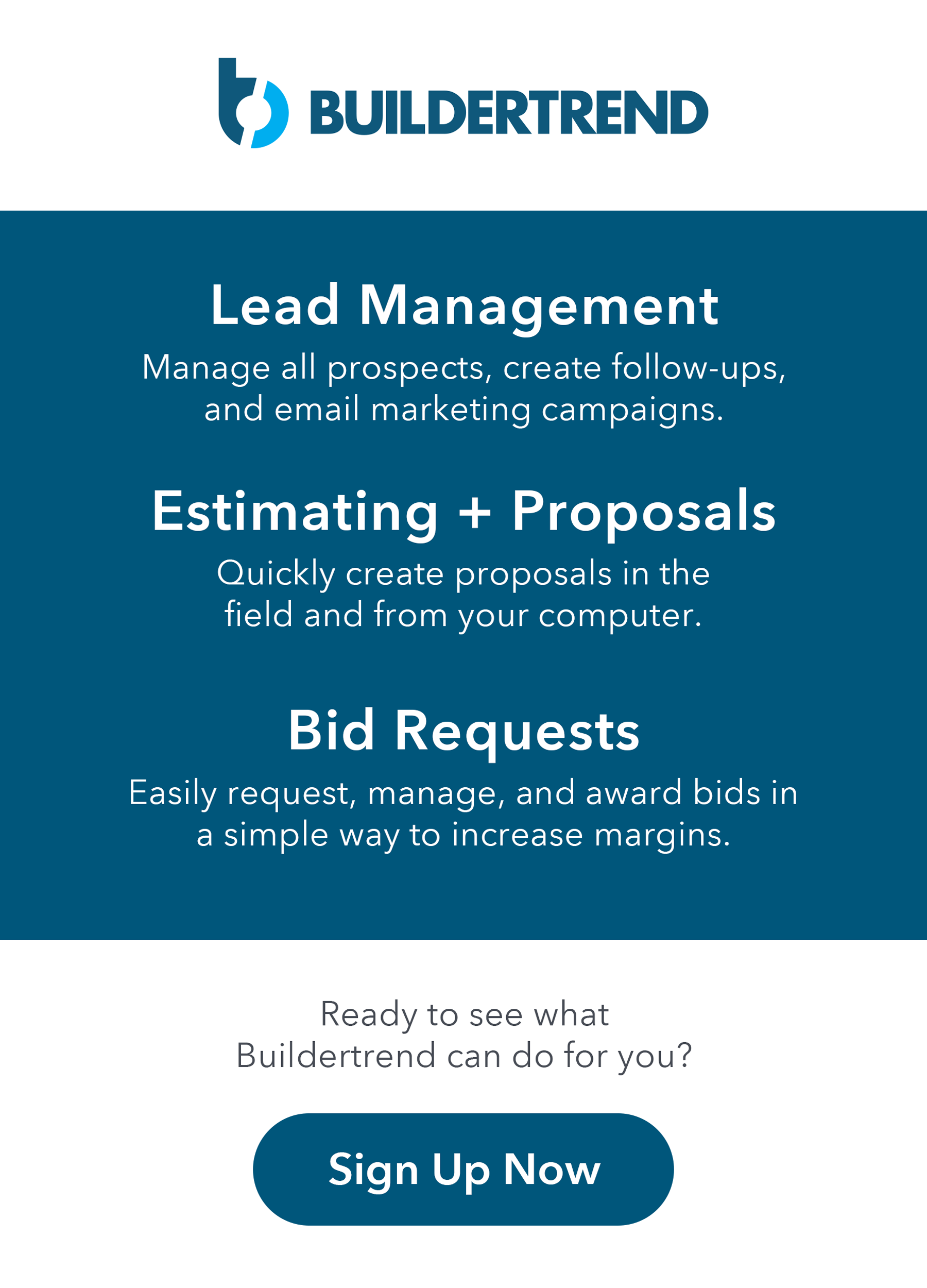 lead management - estimating and proposals - bid requests - sign up now