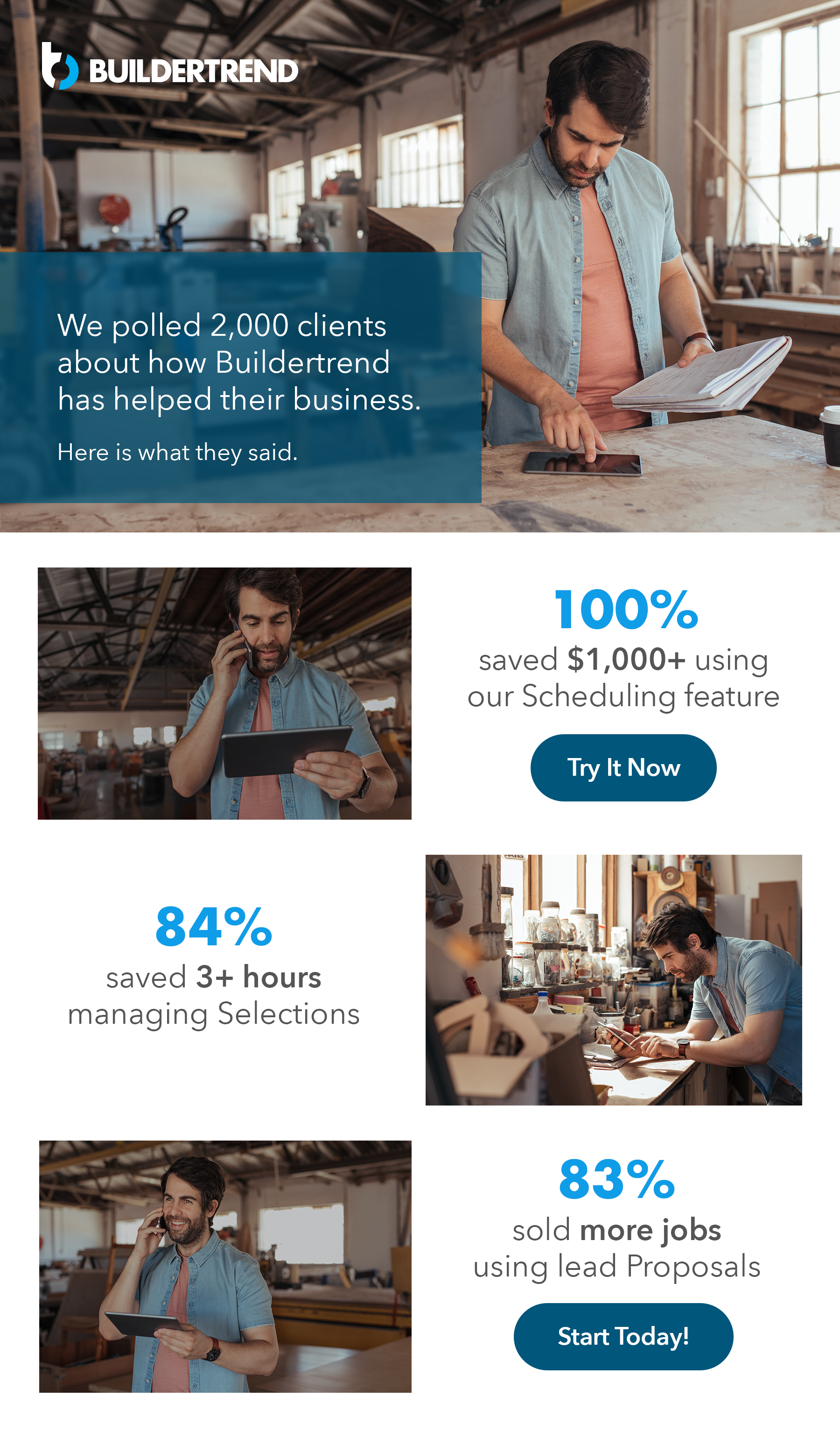 we polled 2000 clients about how buildertrend has help their business - here's what they said - schedule your demo today