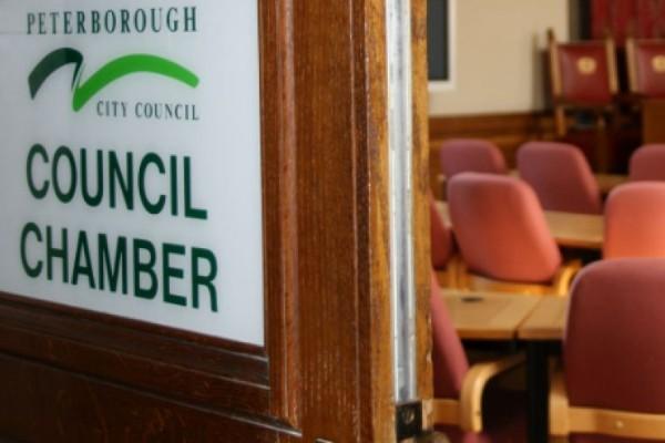Council chamber door open.