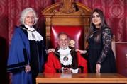 Mayor Gul Nawaz with his Mayoress and Deputy Mayor.