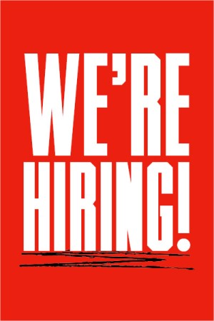 white text reading we're hiring over a red background