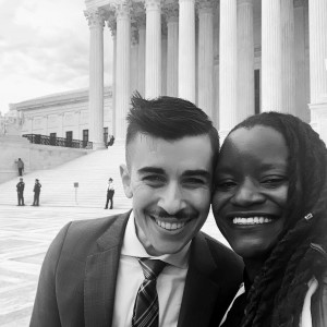 a black and white image of ACLU lawyer chase strangio and center for constitutional rights staff attorney chinyere ezie