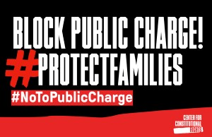 Text reads block public charge! hastag protect families