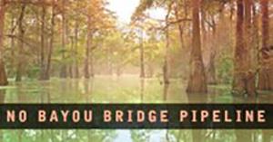 image of a louisiana bayou with text reading no bayou bridge pipeline