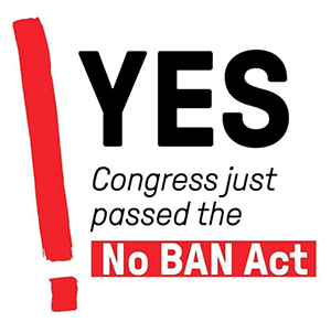 text reads YES congress just passed the no ban act