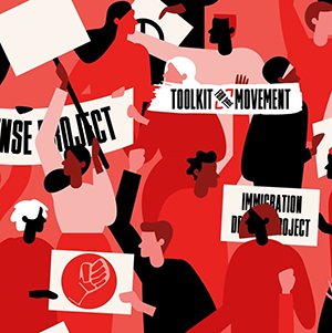 a mainly red graphic of illustrations of people holding signs with the black power fist. text reads toolkit for the movement