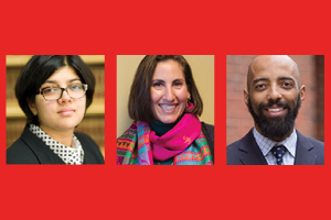 Image of three new board members Amna Akbar, Jumana Musa, and Vincent M. Southerland