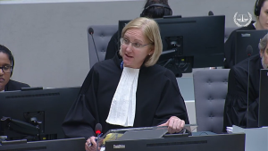 Photo of senior staff attorney katherine gallagher at the international criminal court in the hague