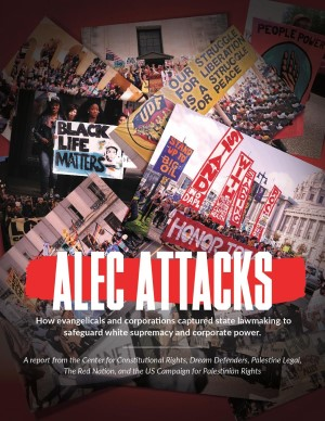 Cover of the alec attacks report. Read the report at alec attacks dot org