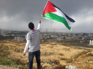 a man waving a palestinian flag is seen from behind