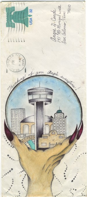 photo of a hand holding a crystal globe containing a view of a city skyline. Carlos Conde. Untitled 1995. Pencil and colored pencil on envelope. Courtesy of Cavin-Morris Gallery, NYC.