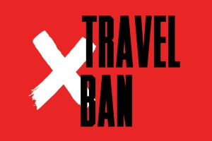 a image of the words travel ban with a white letter X next to it
