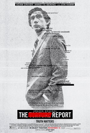 poster for the movie the report starring adam driver the text at the bottom of the poster reads the torture report with the word torture redacted