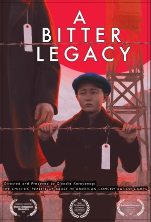 A promotional poster for a bitter legacy features a young Japanese-American boy looking through a barbed wire fence