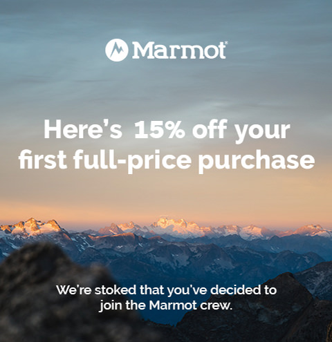 Marmot | Here's 15% off your first full-price purchase
