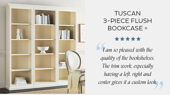 Tuscan 3 Piece Flush Bookcase