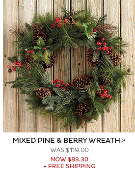Mixed Pine and Berry Wreath