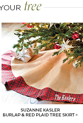 Suzanne Kasler Burlap and Red Plaid Tree Skirt