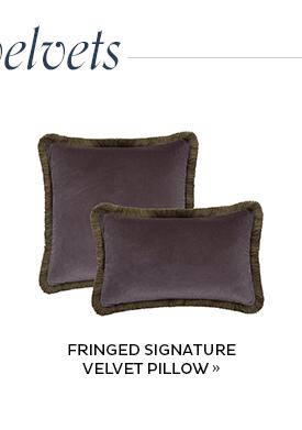 Fringed Signature Velvet Pillow