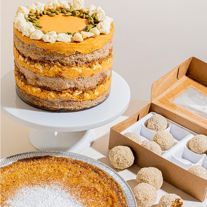 | Pumpkin cake and truffles